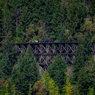 EETG Speeder 16-003 and Hi-Rail 301 Mile 14.6 Trestle from Beaufort Picnic Site across Cameron Lake