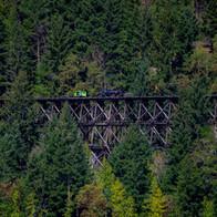 EETG Speeder 16-003 and Hi-Rail 301 Mile 14.6 Trestle from Beaufort Picnic Site across Cameron Lake