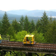 EETG Speeder 4706.44 overlooking the Alberni Valley — MP 24.9