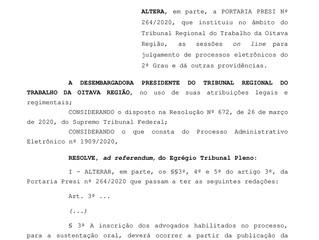 Alteração dos Procedimentos para sessão de julgamento