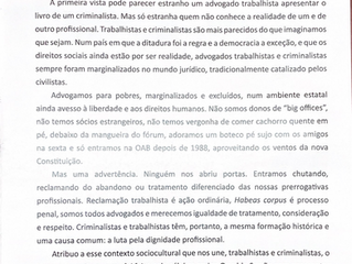 Apresentação do livro '40 Anos de Advocacia Criminal – Relembranças' do Dr Jarbas Vasconcelos