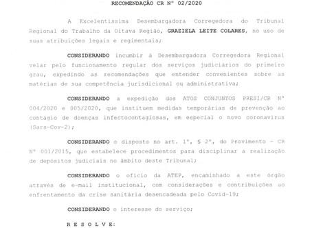 TRT- 8ª Região publicou nesta quinta-feira(19) a recomendação CR Nº02/2020