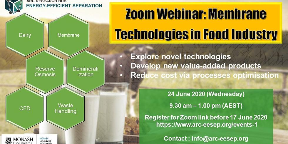 Zoom Webinar: Membrane Technologies in Food Industry
