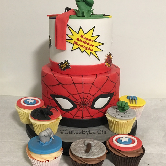 Spiderman and Marvel Heros Brithday Cake