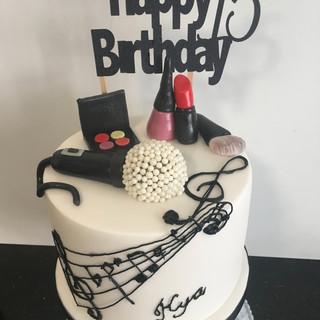 Music and Makeup Birthday cake