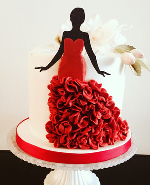 Silhouette Lady Birthday Cake