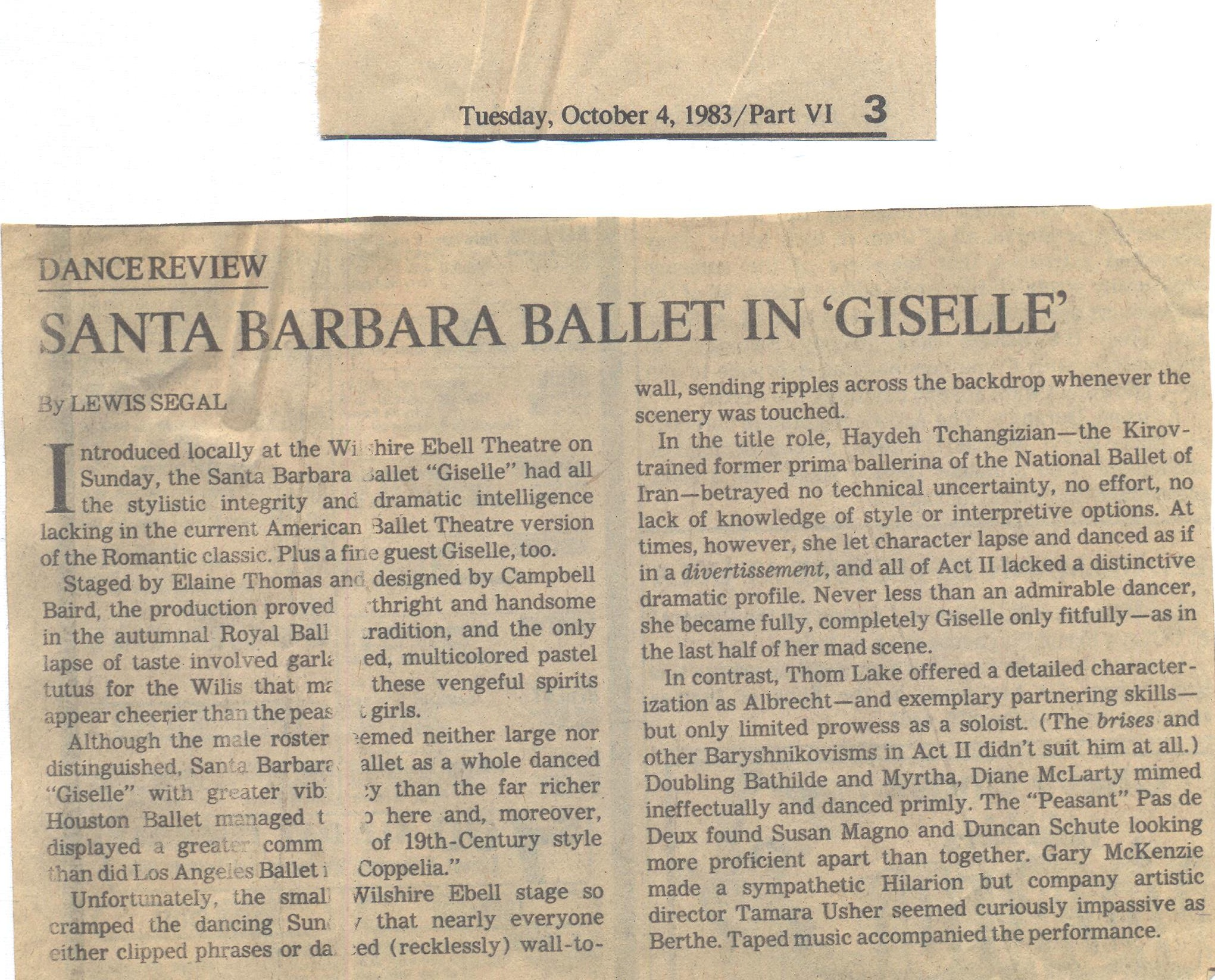Dance Review by Lewis Segal, 1983