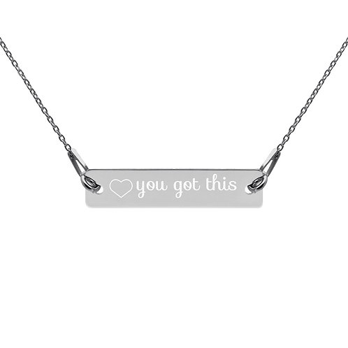 'you got this' Engraved Silver Bar Chain Necklace