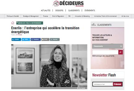 """""""Enerlis : l'entreprise qui accélère la transition énergétique"""" titre Décideurs Magazine."""