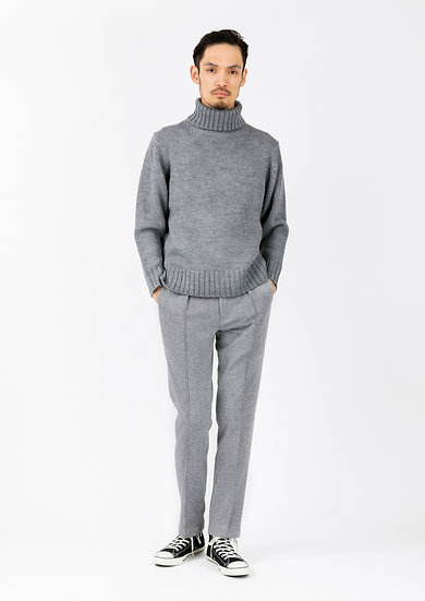 TCR2030220-94 Wool & cotton houndstooth jersey in-pleated tapered fit