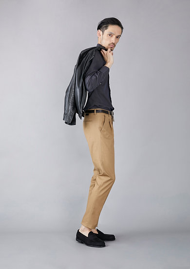 TCR1930231-86 Melange dyed stretched chino one pleated tapered fit