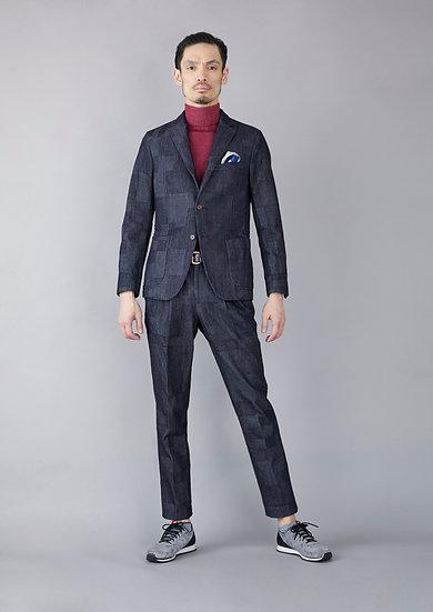 TCR1930114-38  Indigo yarn dyed jacquard shadow check jacket