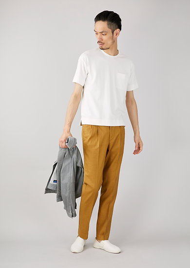 TCR2010211-85 Stretch linen two pleated tapered fit