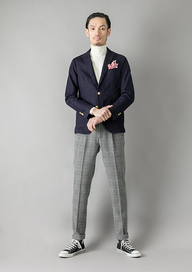 TCR1830221-95 Light tweed Glen Urquhart check wide tapered fit
