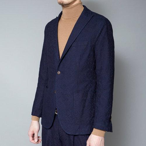 TCR1730114-39 Indigo shadow jacquard unconstructed jacket