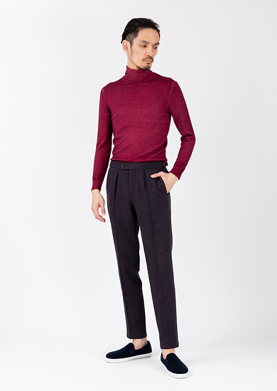 TCR2030220-89 Wool & cotton houndstooth jersey in-pleated tapered fit