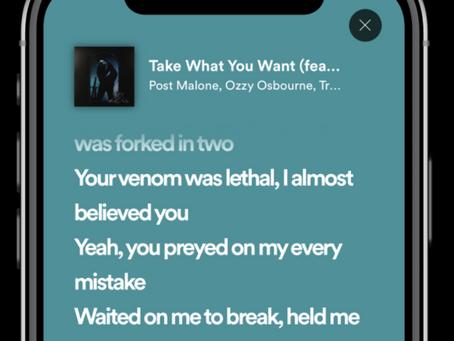 Spotify volta a mostrar letra das músicas