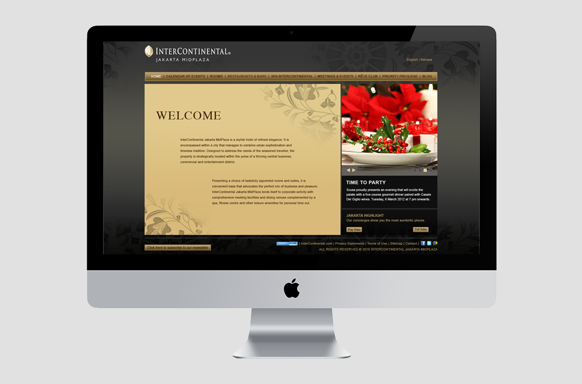 Intercontinental web welcome page preview