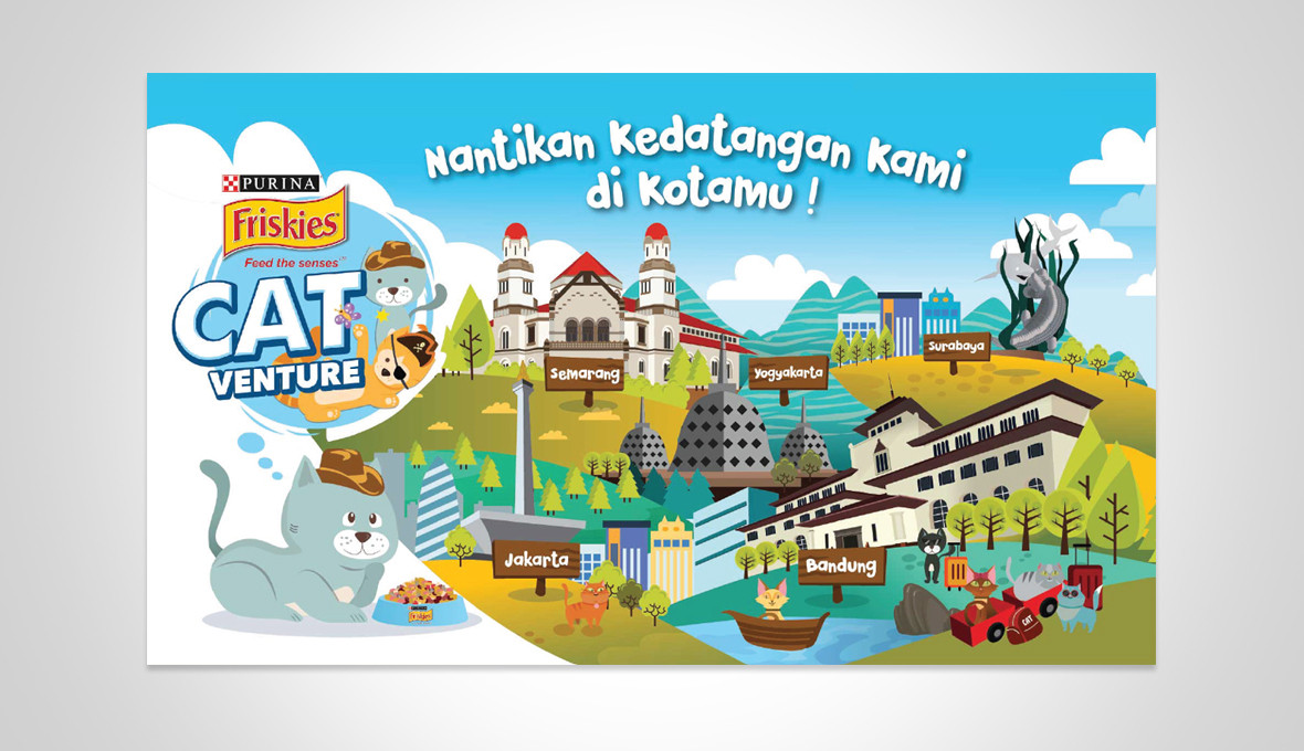 Friskies Mobile Catventure Indonesian Cities Illustration