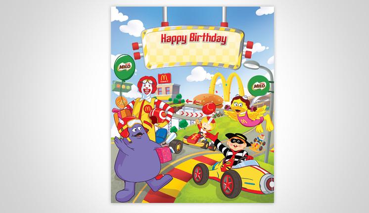McDonald's Mobil Balap Birthday Party Backgrop Design