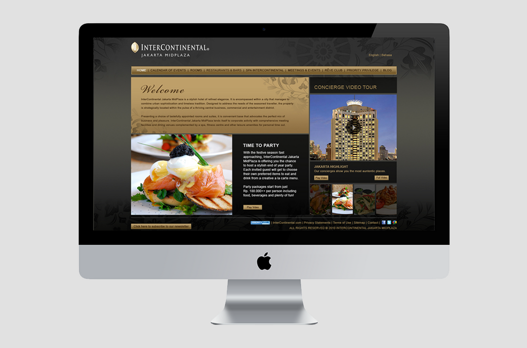Intercontinental web home page preview