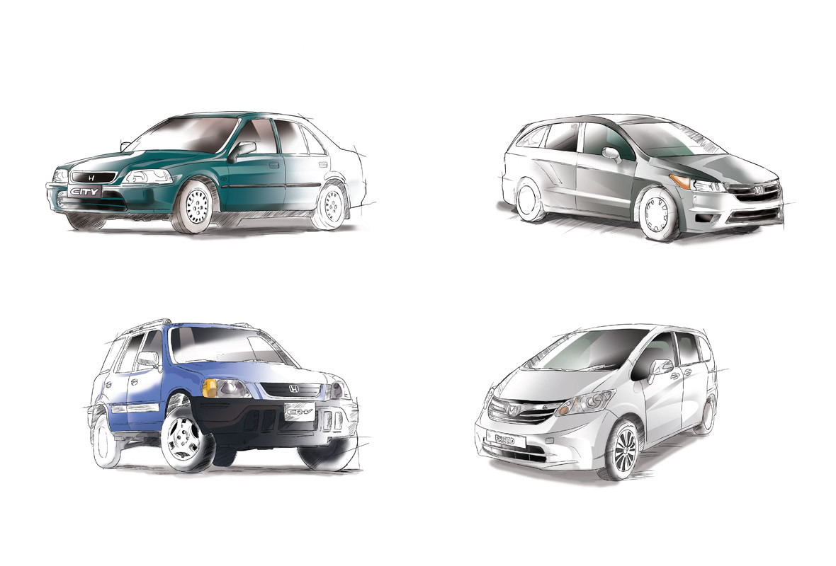 Honda Cars Illustration