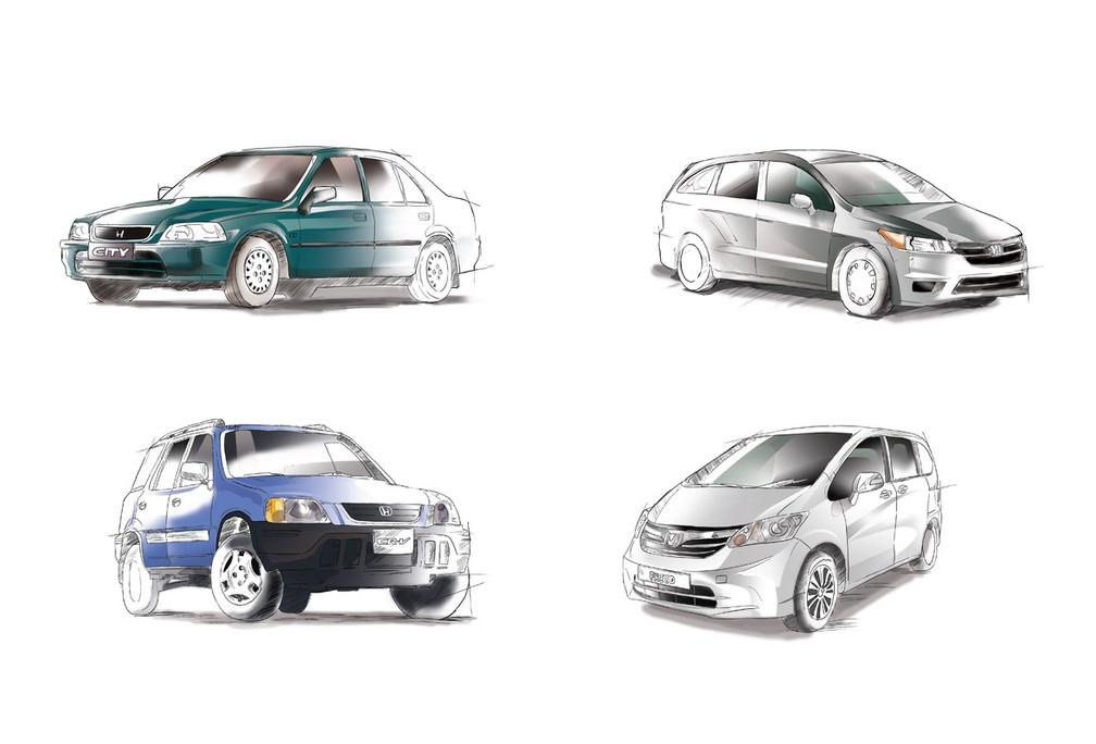 Honda Cars Illustration