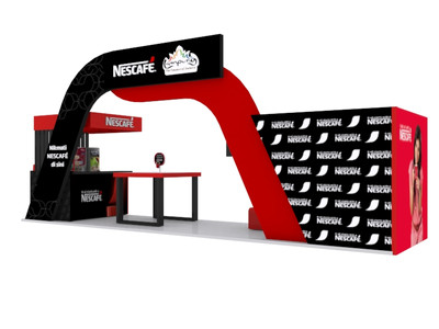 Nescafe International Coffee Day Booth 3d Implementation Back View
