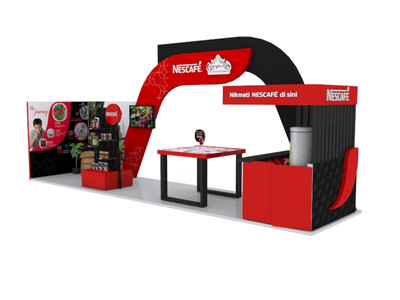 Nescafe International Coffee Day Booth 3D Implementation Side View