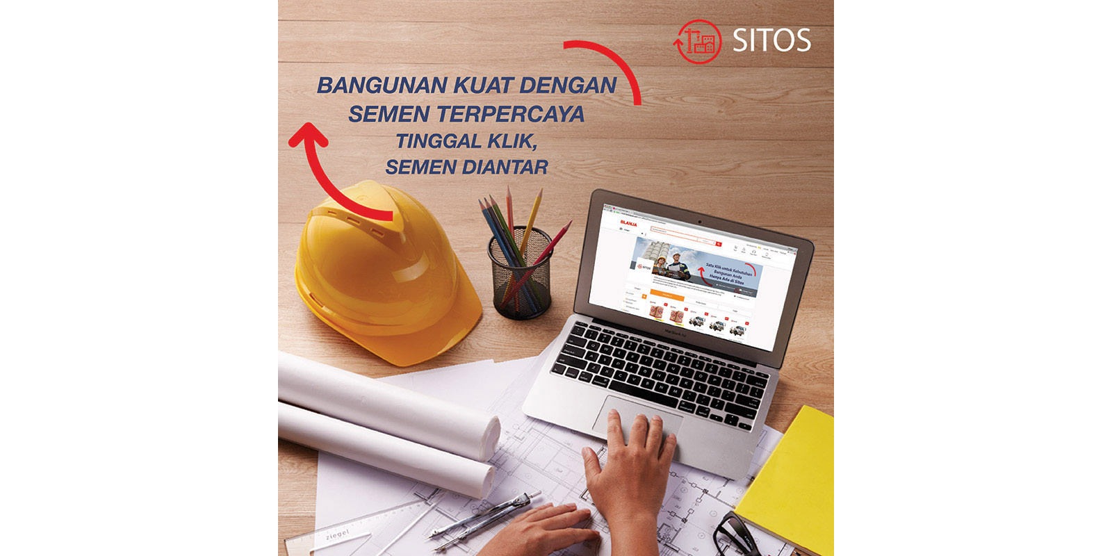 Semen Indonesia Poster with Laptop Image