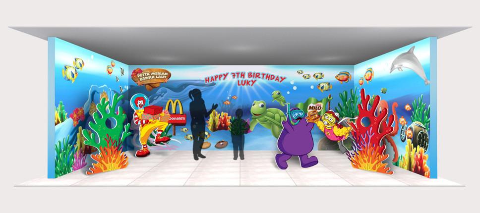 McDonald's Bawah Laut Bithday Party Backdrop Design