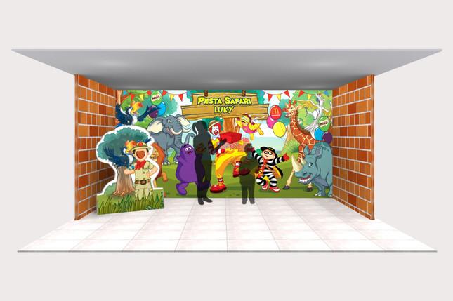 McDonald's Hutan Birthday Party Backdrop 3D Implementation