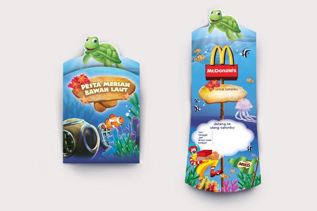 McDonald's Bawah Laut Birthday Party Invitation Design