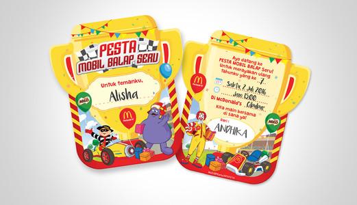 McDonald's Mobil Balap Birthday Party Invitation Design