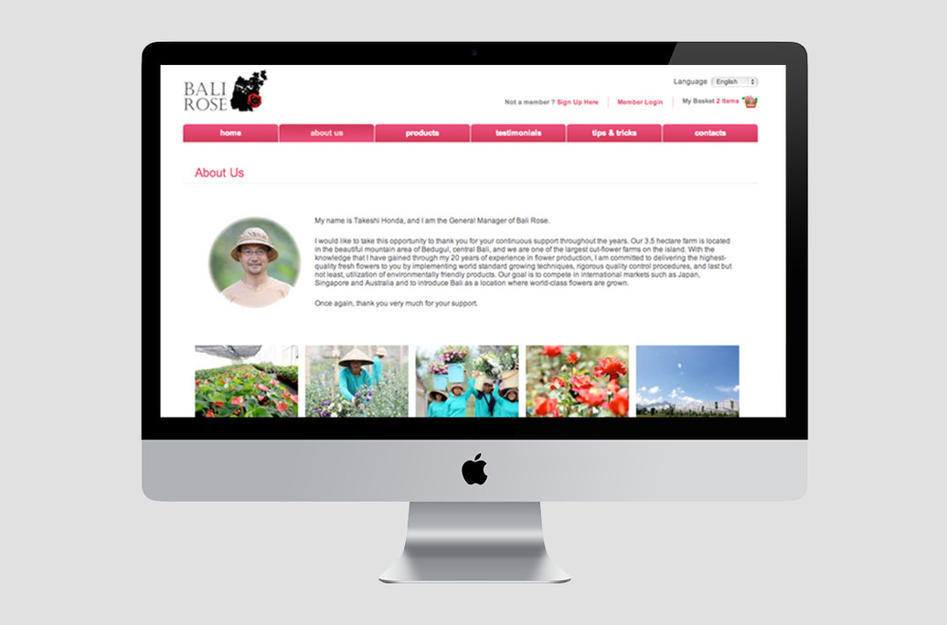 Bali Rose Website About Us Preview