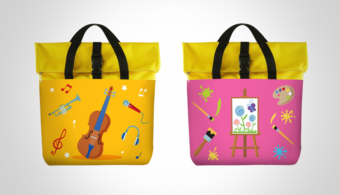 Dancow Fortigrow Illustration Bag Yellow and Pink