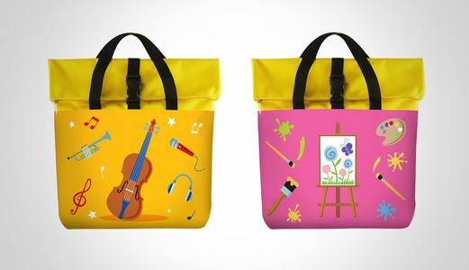 Dancow Fortigrow Illustration Bag Yellow and Pink