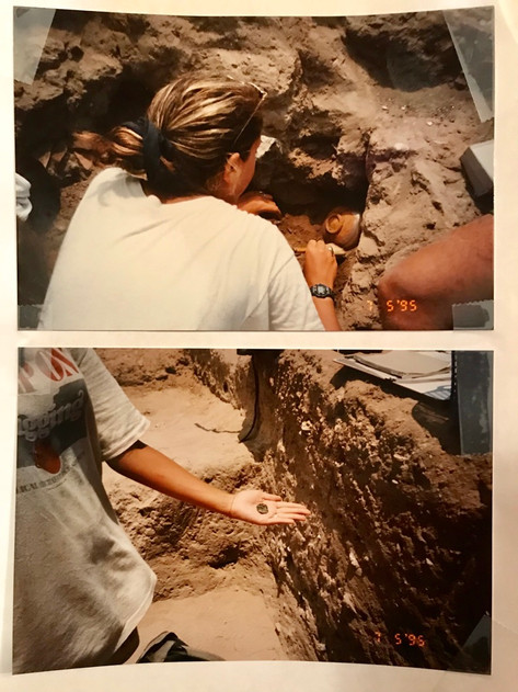 Excavating an ancient storage area; discovering an ancient coin.