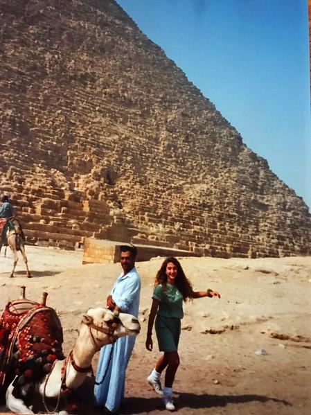 Riding a camel at the Giza Plateau.