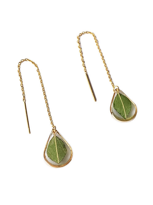 Eucalyptus Teardrop Threader Earrings