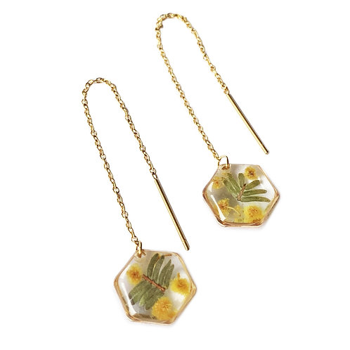 Wattle Threader Earrings ○ Dainty Hexagon