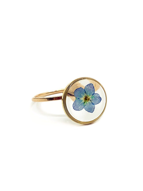 Blue Forget-Me-Not Circle Ring
