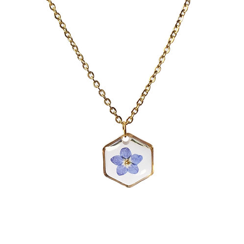 Blue Forget-Me-Not Necklace ○ Dainty Hexagon