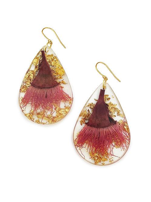 Pink Flowering Gum Earrings with Gold Leaf
