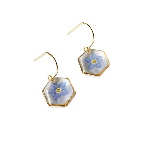 Forget-Me-Not Earrings ○ Dainty Hexagon