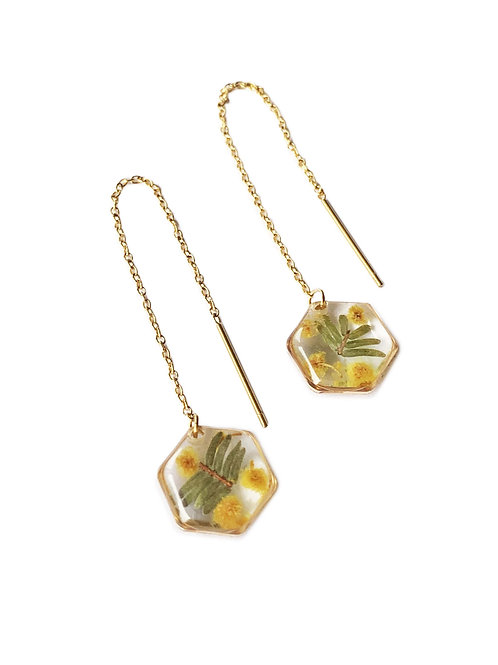 Wattle Hexagon Threader Earrings