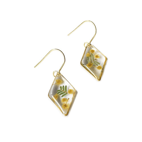 Wattle Earrings ○ Dainty Diamond