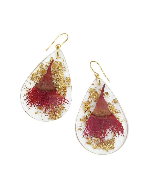 Red Flowering Gum Earrings with Gold Leaf