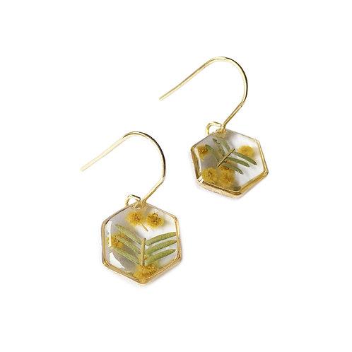 Wattle Earrings ○ Dainty Hexagon