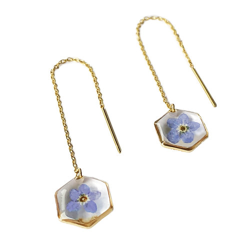 Forget-Me-Not Threader Earrings ○ Dainty Hexagon